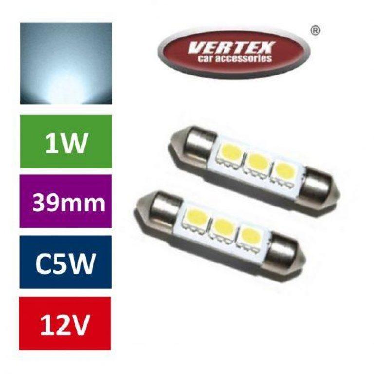 Avto LED žarnica (sijalka) C5W 3 SMD 39mm  2 kosa