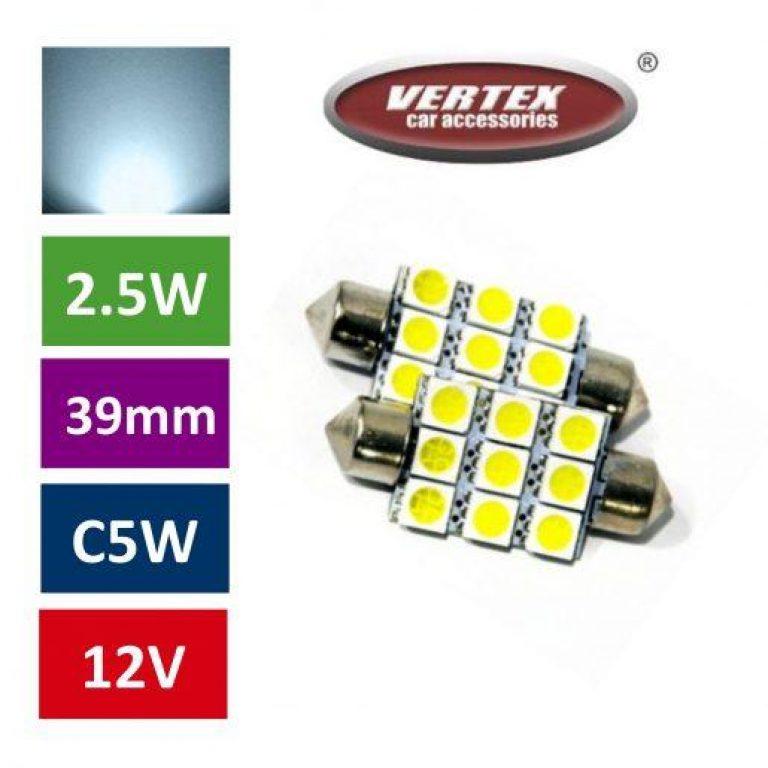 Avto LED žarnica (sijalka) C5W 9 SMD 5050 39mm 2 kosa