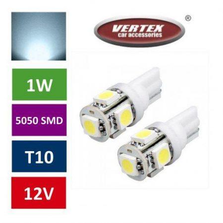 Avto LED žarnica (sijalka) T10 5 SMD 5050 1W 2 kosa