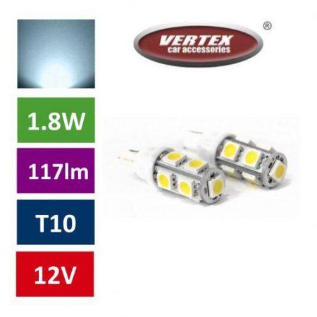 Avto LED žarnica (sijalka) T10 9SMD 1,8W 2 kosa