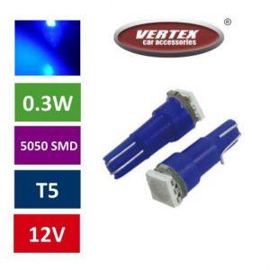 T5 1 SMD LED avto LED žarnica (sijalka) modra 2 kosa