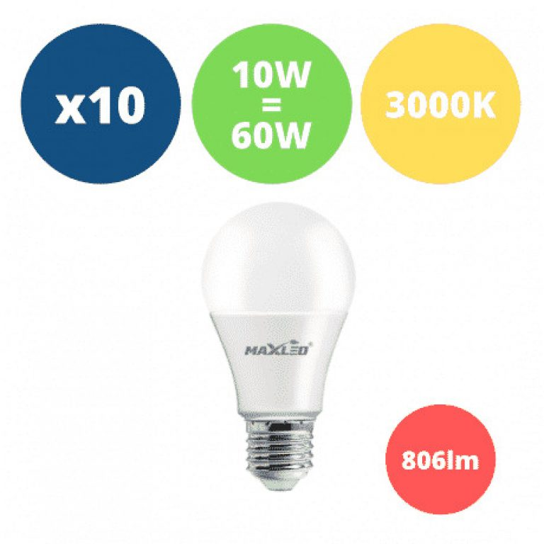 10x LED žarnica - sijalka E27 10W (60W) 806 lm toplo bela 3000K