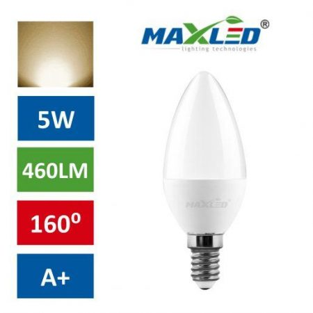 LED žarnica - sijalka E14 5W (40W) toplo bela 3000K MAX-LED