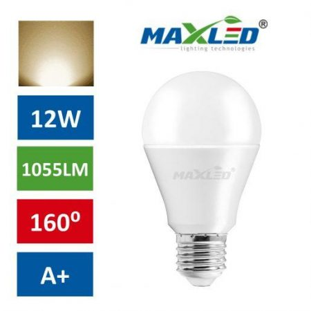 LED žarnica - sijalka E27 12W (75W) toplo bela 3000K MAX-LED