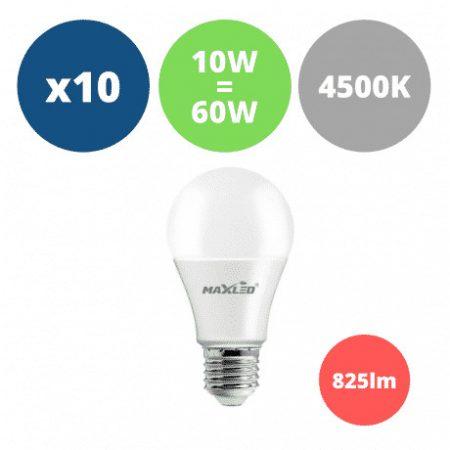 10x LED žarnica - sijalka E27 10W (60W) 825 lm nevtralno bela 4500K