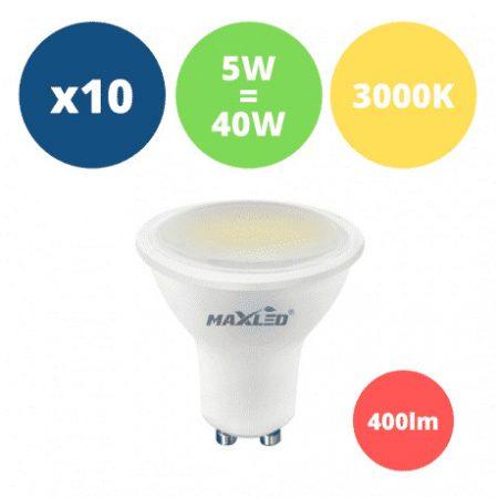 10x LED žarnica - sijalka GU10 5W (40W) 400 lm toplo bela 3000K
