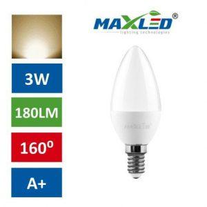 LED žarnica - sijalka E14 3W (25W) toplo bela 3000K MAX-LED