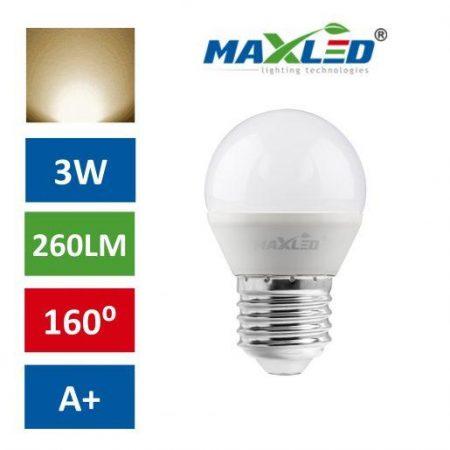 LED žarnica - sijalka E27 3W (30W) 250lm toplo bela 3000K MAX-LED