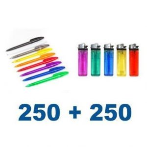 250 kemičnih svinčnikov + 250 vžigalnikov s tiskom