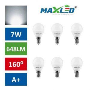 6x LED žarnica - sijalka E14 7W (55W) nevtralno bela 4500K