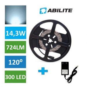 LED trak 2835 300 LED 14,3W 5M 6500K + napajalnik 24W