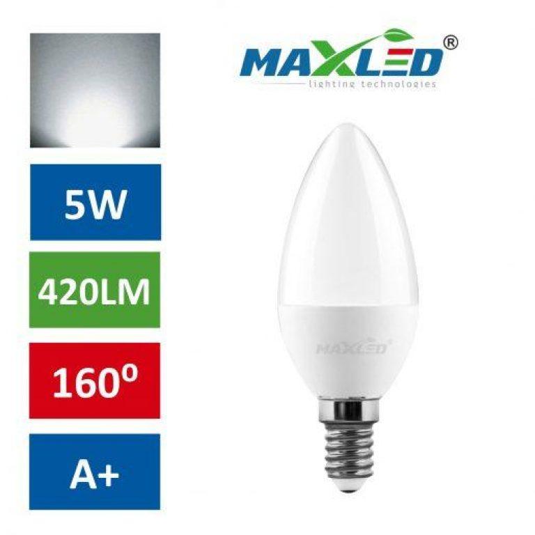 LED žarnica - sijalka E14 5W (40W) nevtralno bela 4500K MAX-LED