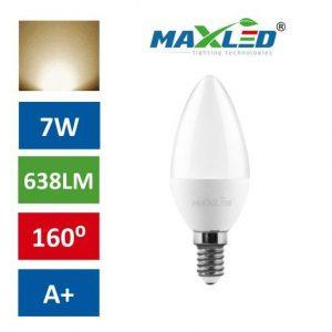 LED žarnica - sijalka E14 C30 7W (55W) toplo bela 3000K MAX-LED
