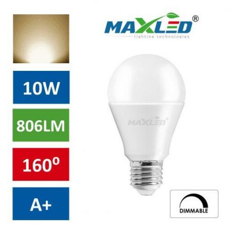 LED žarnica - sijalka E27 10W (60W) ZATEMNILNA toplo bela 3000K