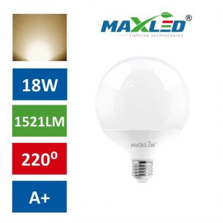 LED žarnica - sijalka E27 18W (100W) 1521lm bučka toplo bela 3000K