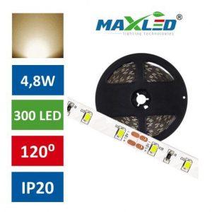 LED trak 2835 4,8W/m 300 LED IP20 toplo bela 3000K 5m