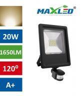 LED reflektor 20W toplo beli s senzorjem max-led