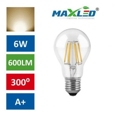 LED žarnica - sijalka E27 6W (50W) fillament toplo bela 3000K
