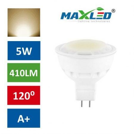 LED žarnica - sijalka MR16 5W (40W) toplo bela 3000K MAX-LED