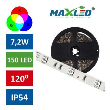 LED trak RGB 7,2W/m 150 LED IP54 5m