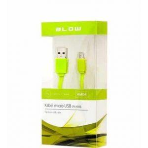 Micro USB kabel ploski BLOW zelen