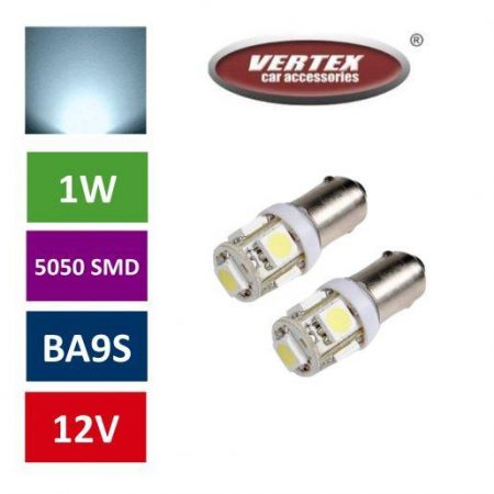 Avto LED žarnica (sijalka) BA9S 5 SMD 5050 1W 2 kosa