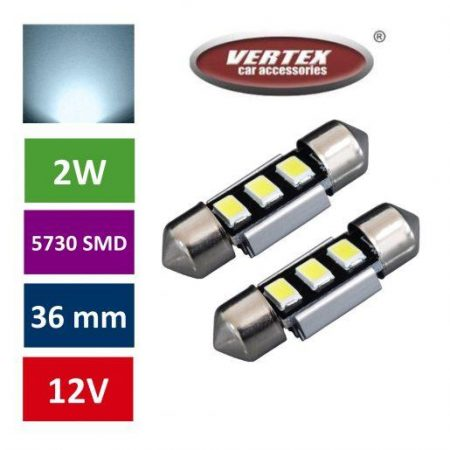 Avto LED žarnica (sijalka) C5W 36mm 3 SMD 5730 CANBUS 2W 2 kosa