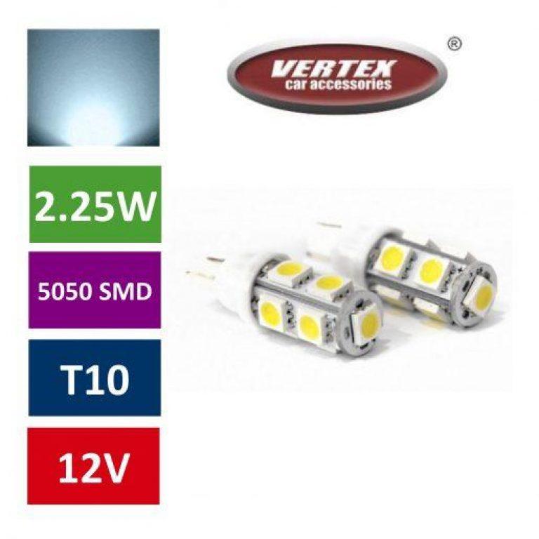 Avto LED žarnica (sijalka) T10 9 SMD 5050 2,25W 2 kosa