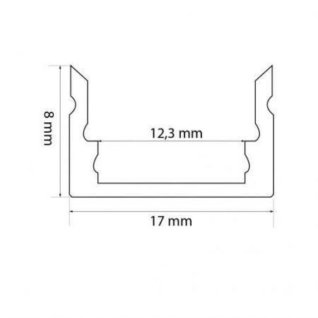 ALU LED profil nadgradni 41010 17x8mm 1m mat