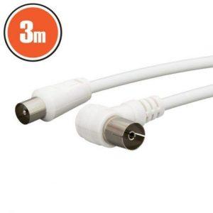 Antenski kabel 3m beli 90°