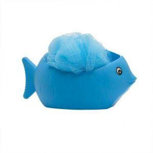Gobica za umivanje + držalo v obliki ribe modra