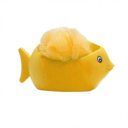 Gobica za umivanje + držalo v obliki ribe rumena
