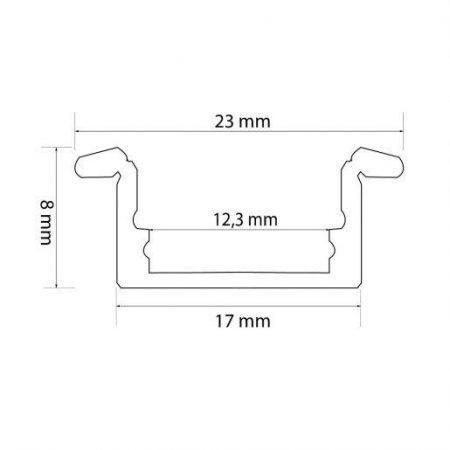 LED profil robni 23(17) x 8 mm 1m mat