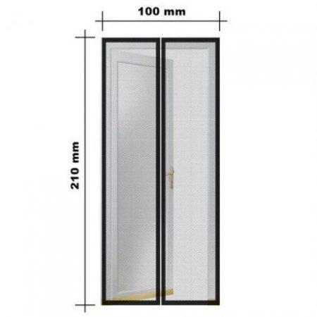 Mreža proti komarjem in mrčesu za vrata z magneti črna