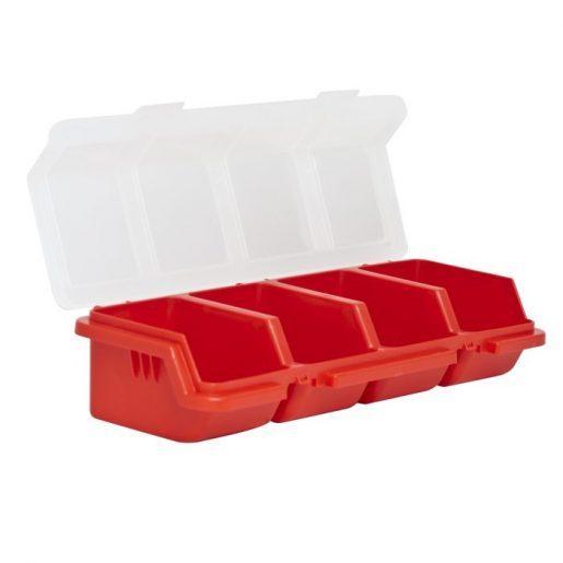 Plastični organizator s pokrovom rdeč
