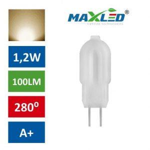 LED žarnica - sijalka G4 1,2W 12V toplo bela 3000K 1:1 MAX-LED