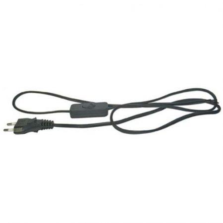 Priključna vrvica PVC 2×0,75MM s stikalom črna 2M