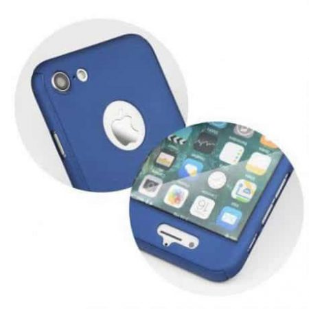 360° zaščita za mobilni telefon + kaljeno zaščitno steklo za   Samsung Galaxy S8 moder