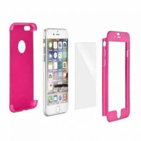 360° zaščita za mobilni telefon + kaljeno zaščitno steklo za   Samsung Galaxy S8 pink