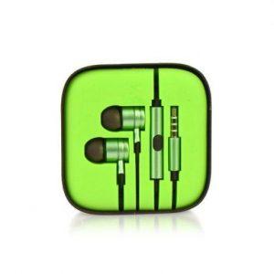 Kovinske stereo slušalke z mikrofonom in tipkami zelene