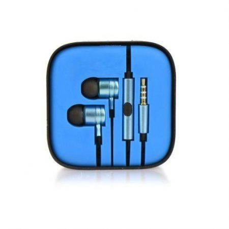 Kovinske stereo slušalke z mikrofonom in tipkami modre