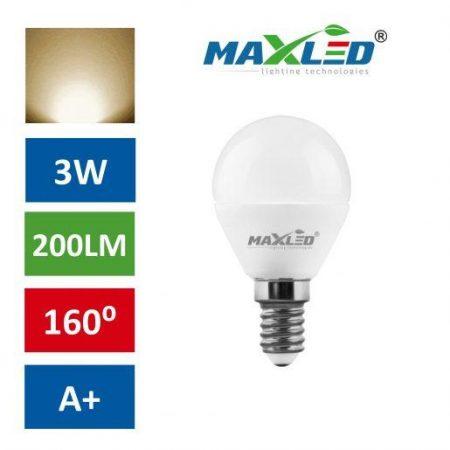 LED žarnica - sijalka E14 B45 3W (25W) toplo bela 3000K MAX-LED