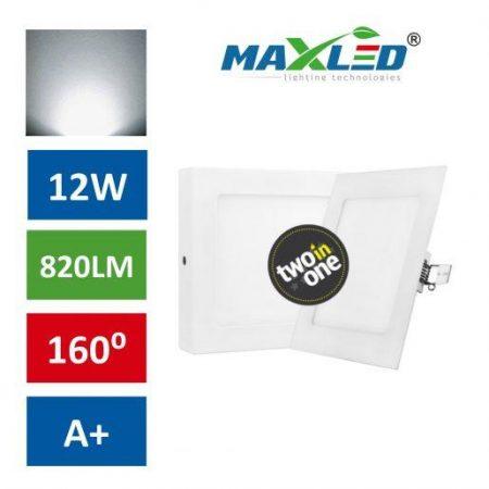 LED vgradna/nadgradna svetilka 2v1 12W kvadratna nevtralno bela