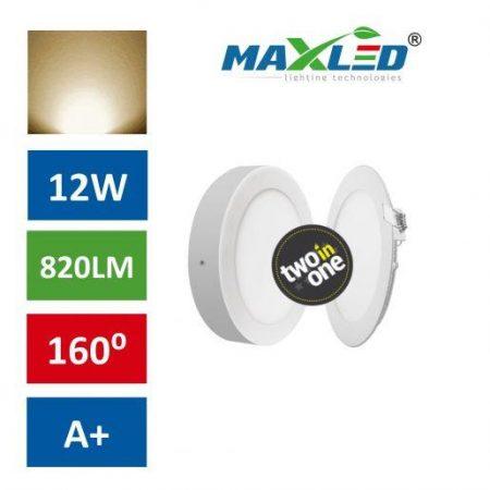 LED vgradna/nadgradna svetilka 2v1 12W okrogla toplo bela okrogla