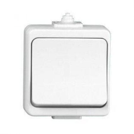 Enojno stikalo nadometno belo IP44