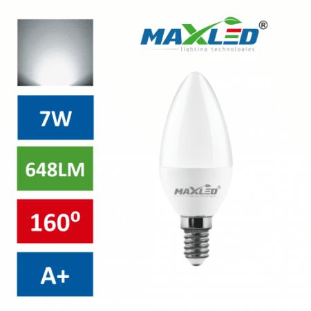 LED žarnica - sijalka E14 C30 7W (55W) C30 nevtralno bela 4500K