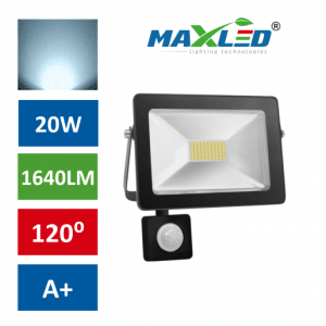 LED reflektor SMD SLIM 20W hladno beli 6000K s senzorjem