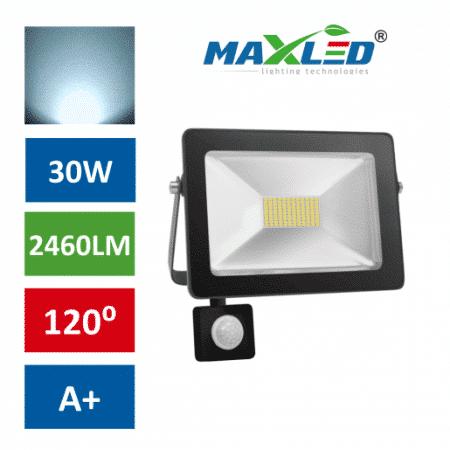 LED reflektor SMD SLIM 30W hladno beli 6000K s senzorjem