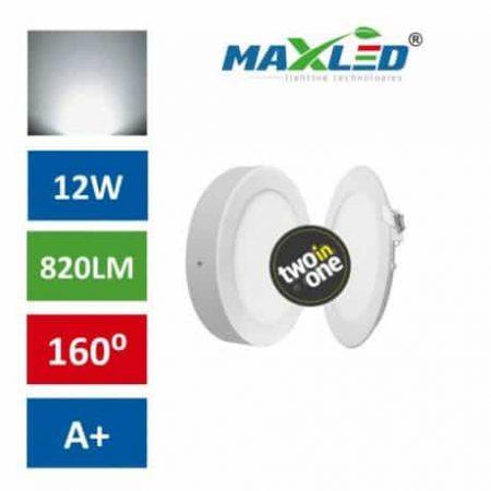 LED vgradna/nadgradna svetilka 2v1 12W okrogla nevtralno bela
