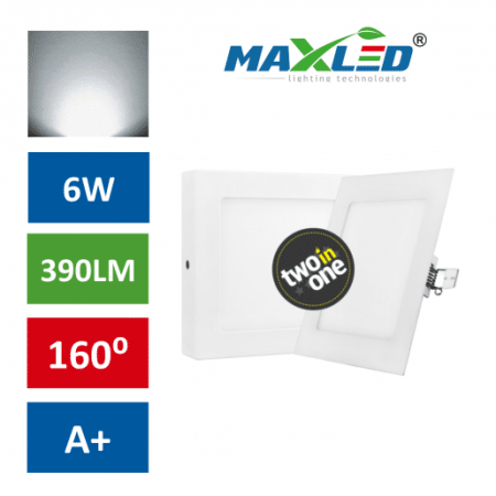 LED vgradna/nadgradna svetilka 2v1 6W kvadratna nevtralno bela